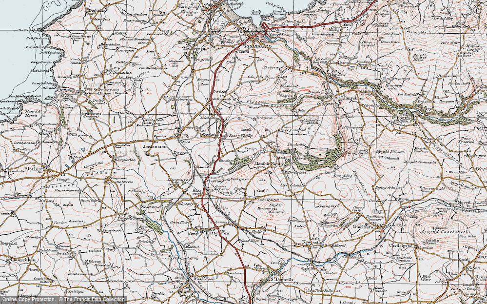 Old Map of Historic Map covering Afon Cleddau in 1922