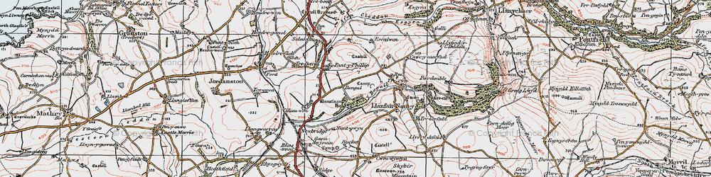 Old map of Afon Cleddau in 1922