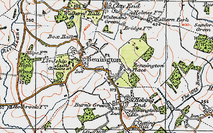 Old map of Benington in 1919