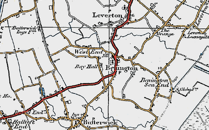 Old map of Benington in 1922