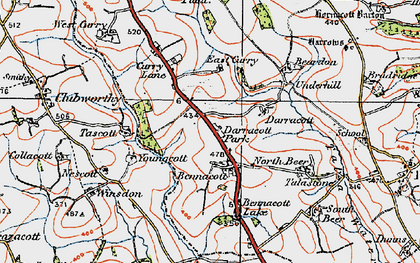 Old map of Bennacott in 1919