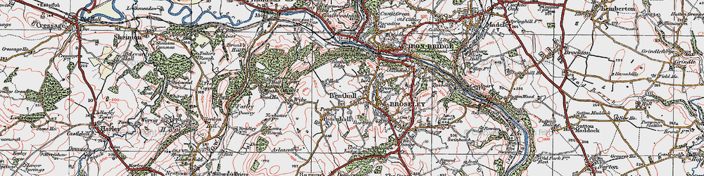 Old map of Benthall in 1921
