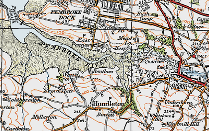 Old map of Bentlass in 1922