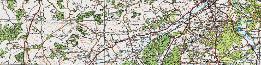 Old map of Bentley in 1919
