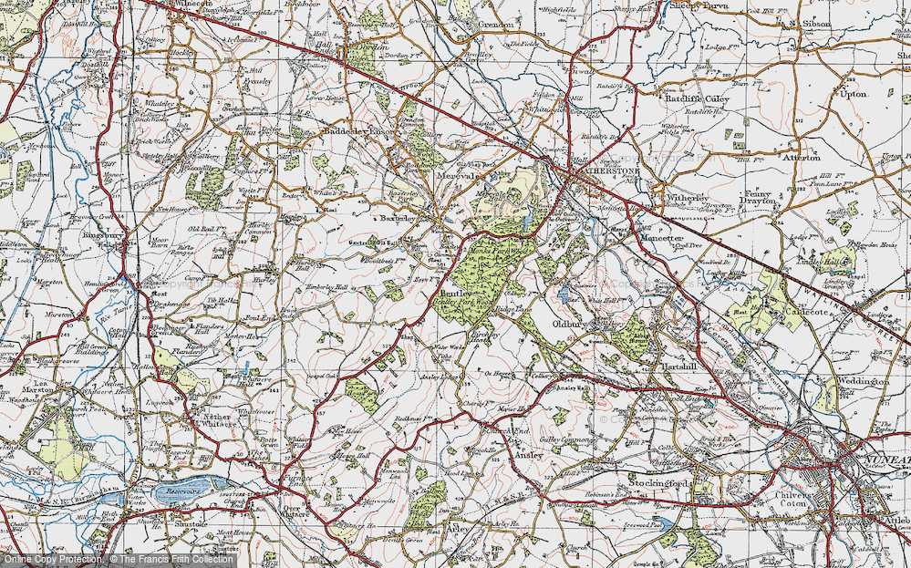 Old Map of Bentley, 1921 in 1921