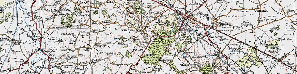 Old map of Merevale in 1921