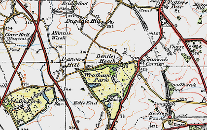 Old map of Wrotham Park in 1920