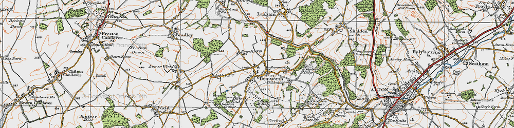 Old map of Bentworth in 1919
