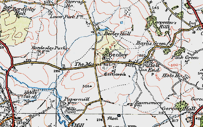 Old map of Beoley in 1919