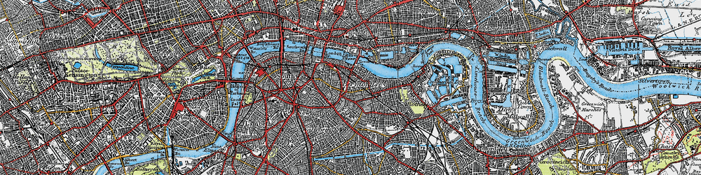 Old map of Bermondsey in 1920
