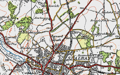 Old map of Bernards Heath in 1920
