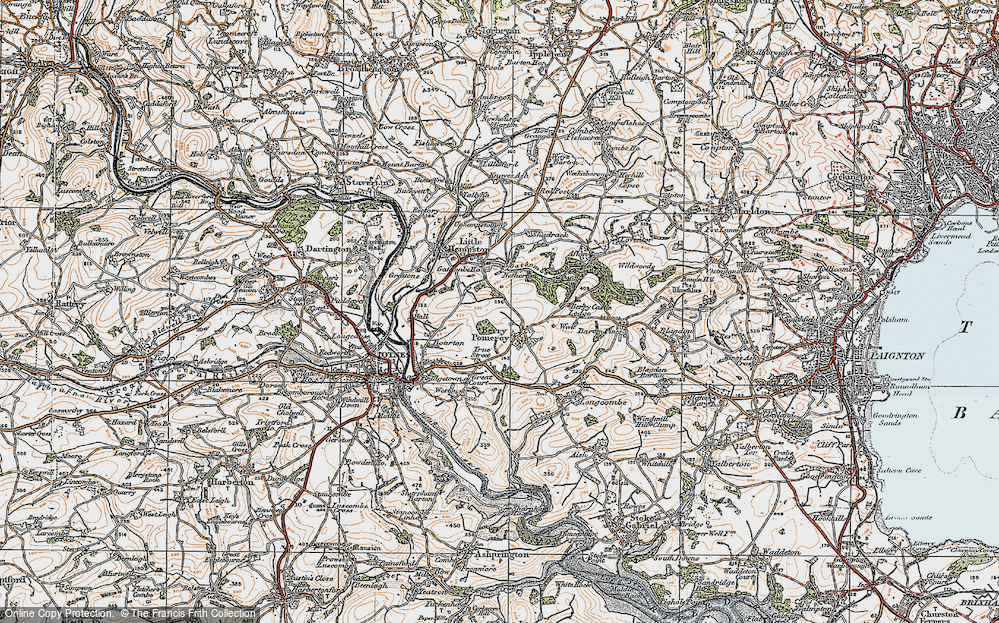 Old Map of Berry Pomeroy, 1919 in 1919