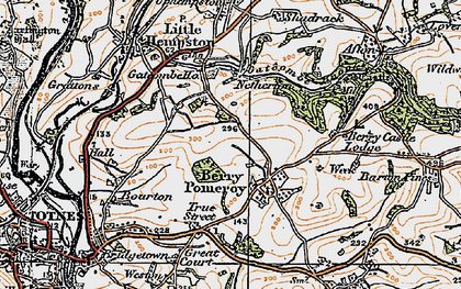 Old map of Berry Pomeroy in 1919