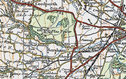 Old map of Bersham in 1921