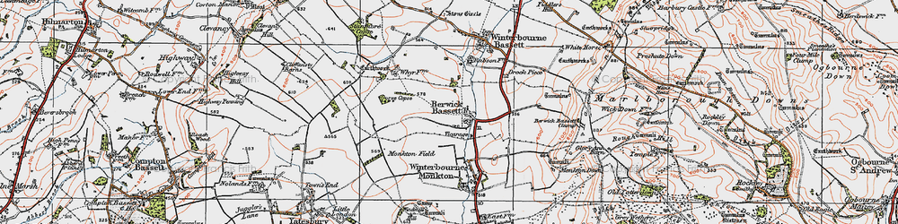 Old map of Berwick Bassett in 1919