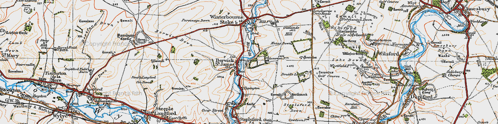 Old map of Berwick St James in 1919
