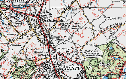 Old map of Besses o' th' Barn in 1924