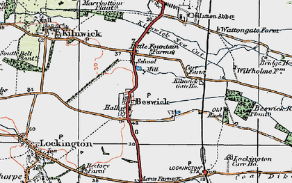 Old map of Wilfholme in 1924