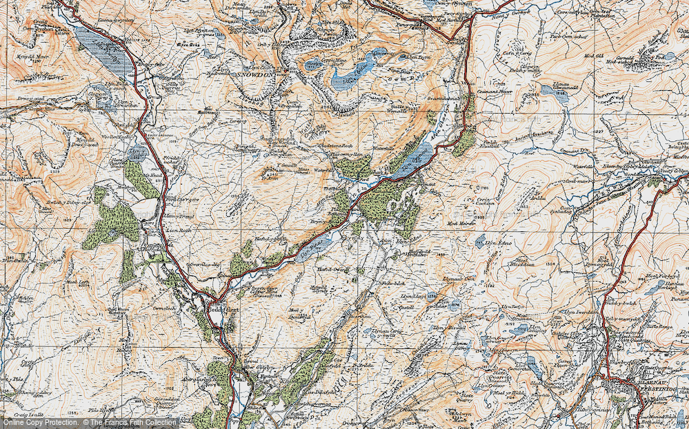 Old Map of Historic Map covering Afon Gorsen in 1922