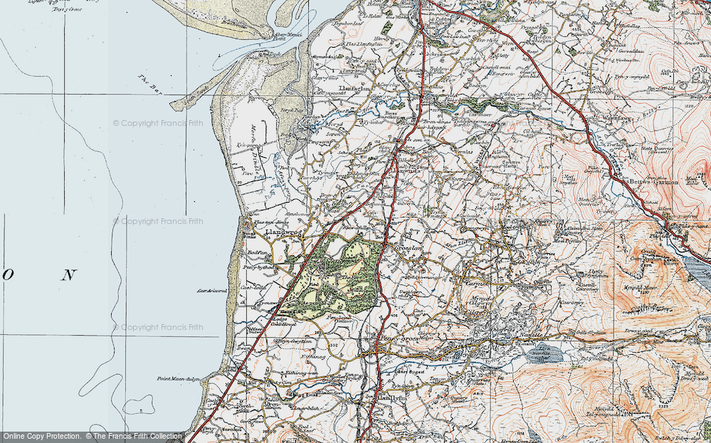 Old Map of Historic Map covering Afon Llifon in 1922