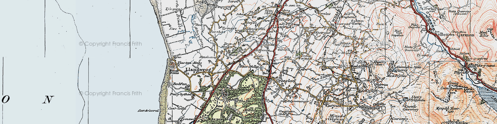 Old map of Afon Llifon in 1922