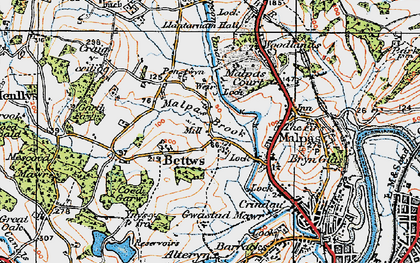 Old map of Bettws in 1919