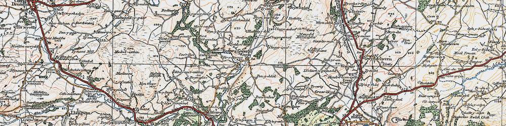 Old map of Bryn-Crâs in 1922