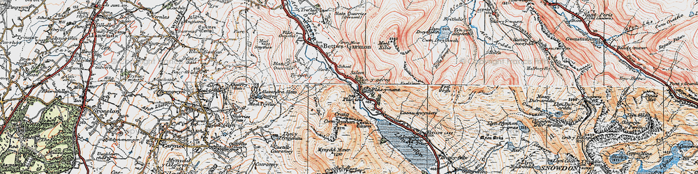 Old map of Betws Garmon in 1922