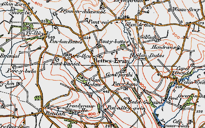 Old map of Betws Ifan in 1923