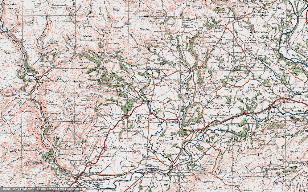 Old Map of Historic Map covering Allt Lwyd in 1923