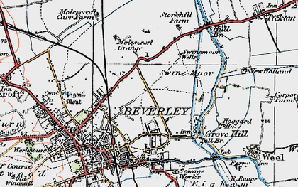 Old map of Beverley in 1924