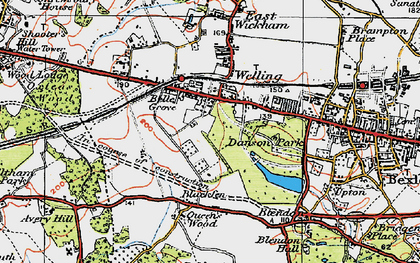 Old map of Bexley in 1920