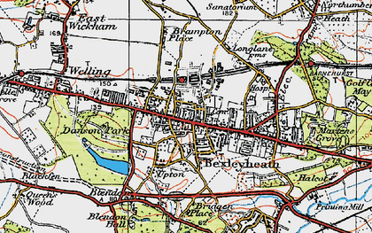 Old map of Bexleyheath in 1920
