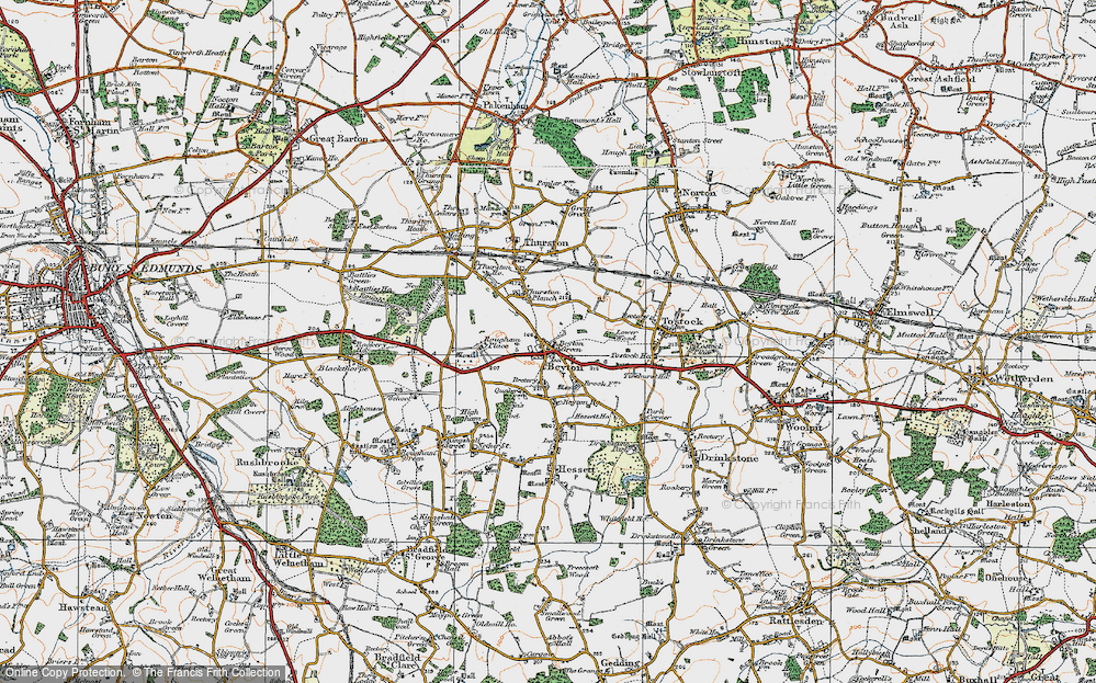 Old Map of Historic Map covering Thurston Planche in 1921
