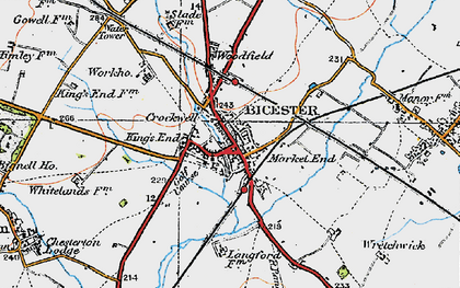 Old map of Bicester in 1919