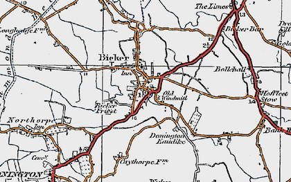Old map of Bicker in 1922