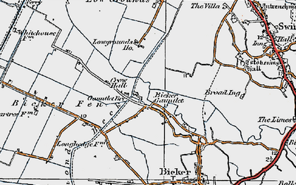 Old map of Bicker Gauntlet in 1922