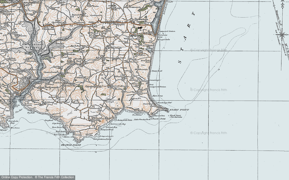 Old Map of Historic Map covering Lannacombe Beach in 1919