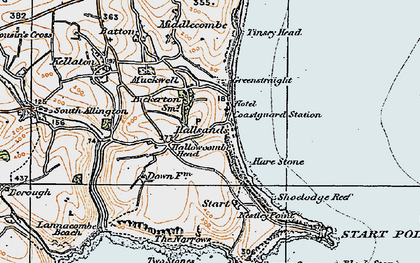 Old map of Lannacombe Beach in 1919