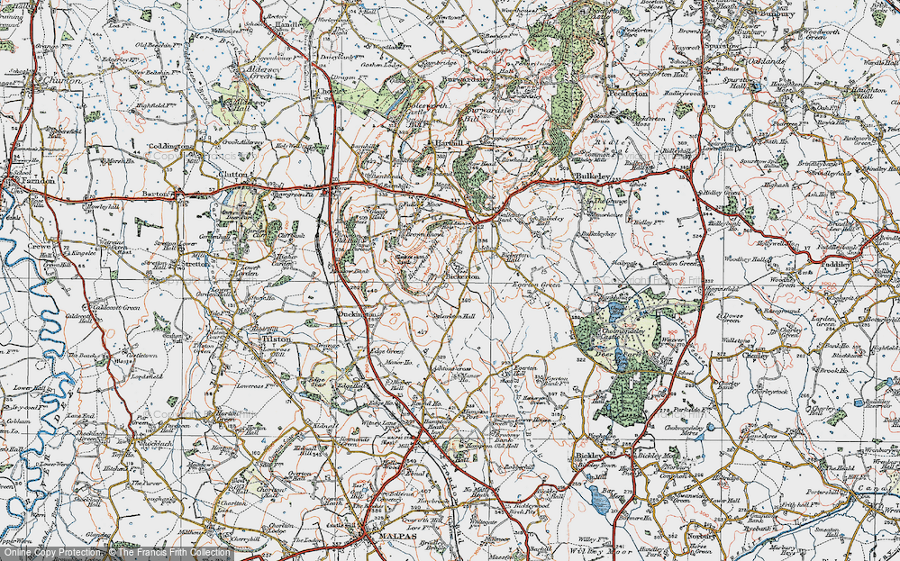 Old Map of Historic Map covering Larkton Hill in 1921