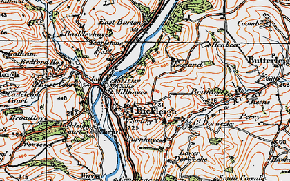 Old map of Bickleigh in 1919