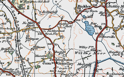 Old map of Bar Mere in 1921