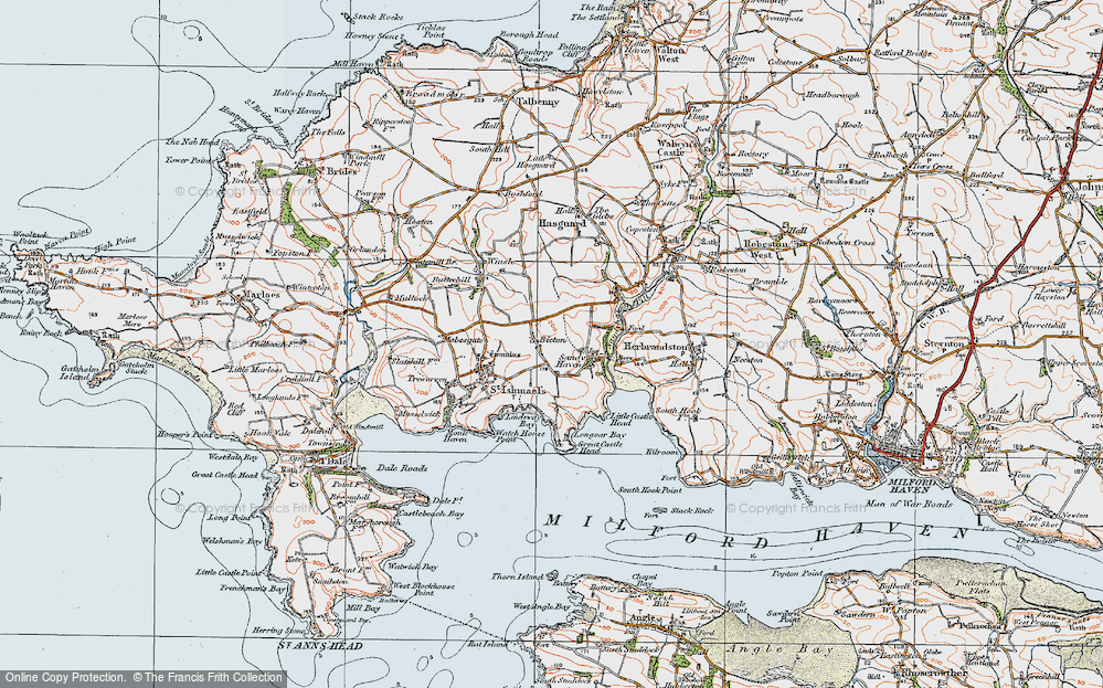 Old Map of Historic Map covering Lindsway Bay in 1922