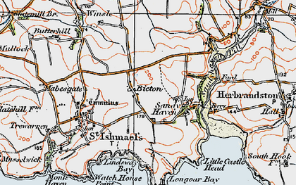 Old map of Bicton in 1922