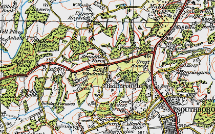 Old map of Bidborough in 1920