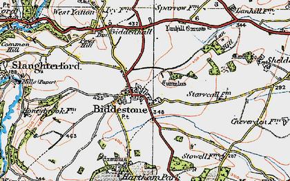 Old map of Biddestone in 1919
