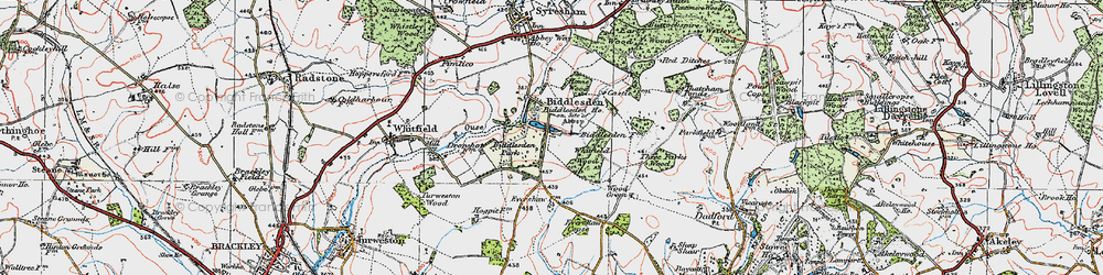 Old map of Whitfield Wood in 1919