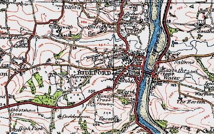 Old map of Bideford in 1919