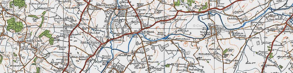 Old map of Bidford-on-Avon in 1919