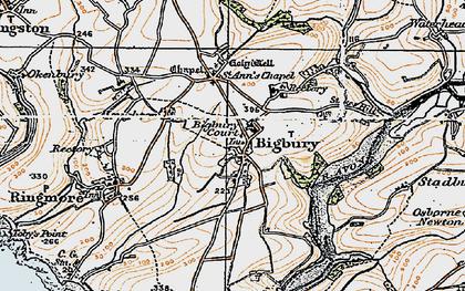 Old map of Bigbury in 1919